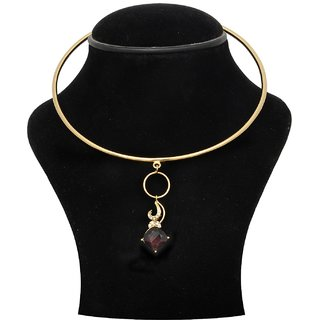 Trisha Jewels 24K Gold Plated Neck Hassli With Red Wine Colour Stone