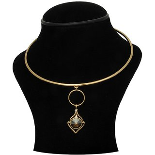 Trisha Jewels 24K Gold Plated Neck Hassli With Brown Colour Crystal Stone