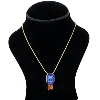 Trisha Jewels 24K Gold Plated Pendant With Orange & Blue Colour Stone