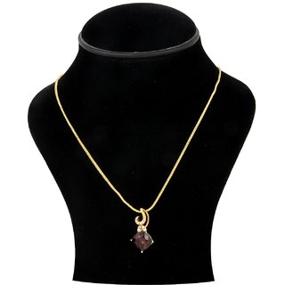 Trisha Jewels 24K Gold Plated Pendant With Red Wine Colour Crystal Stone .