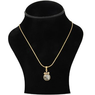 Trisha Jewels 24K Gold Plated Pendant With Smoke Colour Stone