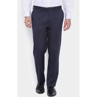 Suitltd Blue Slim Fit Mid Rise Formal Trouser For Men