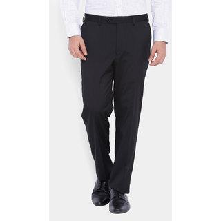 Suitltd Black Slim Fit Mid Rise Formal Trouser For Men