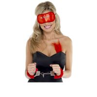 RED FURRY LOVE HAND CUFFS WITH KEYS  EYE MASK, LOVERS COUPLE NAUGHTY GIFT ITEM
