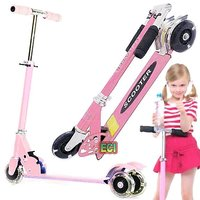 CROWN Pink Just Start Kids Scooter Ride On Children Scooty Bike Folding Cycle
