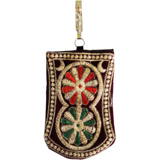 Stylish Brown with Green-Red Wheel Art Mobile Bag