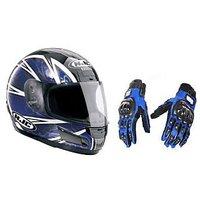 Stylish Helmet with ISI Mark+ Blue Pro Biker Gloves