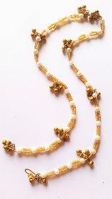 white pearl golden anklet