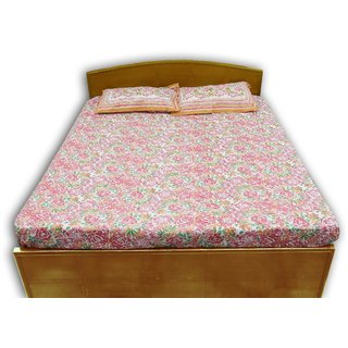Vistruti 100 Cotton Queen Size Bed Cover Set With Two Pillow Covers - Pink, Green  Mustard