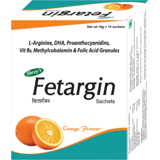 Fetargin, Womens Health Supplement  10 Sachets with L-Arginine, DHA, Folic Acid, Proanthocyanidins, Vitamin B12 Methyl