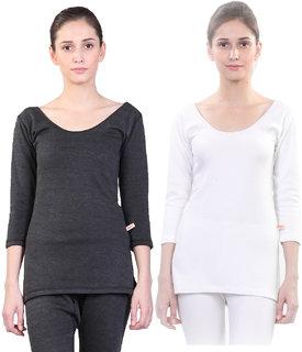 Vimal-Jonney Winter Premium Black And White Thermal Upper For Women(Pack Of 2)