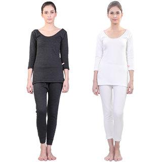 Vimal Winter Premium Black And White Thermal Upper & Bottom Set For Women(Pack Of 2)