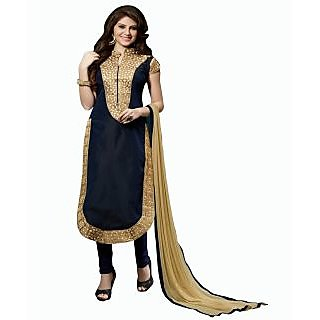e0b4aa5bb8e9d Buy DnVeens Women Black Chanderi Cotton Embroidered Unstiched Party Wear  Salwar Suit Dress Material Online   ₹999 from ShopClues