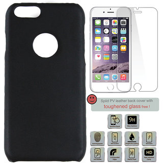 100 Microns Protective Leather Mobile Cover for I Phone  with Tuffen glass in Black colour