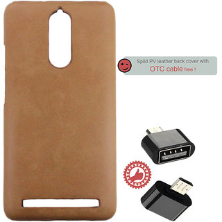 100 Microns Protective Leather Mobile Cover for Lenovo K5 Note with OTG cable in Tan colour