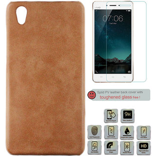 100 Microns Protective Leather Mobile Cover for VIVO Y51L with Tuffen glass in Tan colour