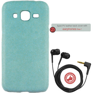 100 Microns Protective Leather Mobile Cover for Samsung J2 2016 with Headphones in Teal Blue colour