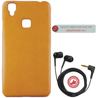 100 Microns Protective Leather Mobile Cover for VIVO V3 with Headphones in Mustard colour