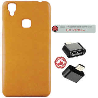 100 Microns Protective Leather Mobile Cover for VIVO V3 with OTG cable in Mustard colour