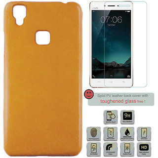 100 Microns Protective Leather Mobile Cover for VIVO V3 with Tuffen glass in Mustard colour