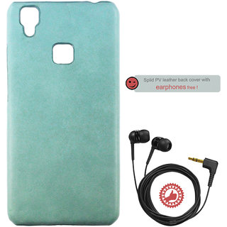 100 Microns Protective Leather Mobile Cover for VIVO V3 with Headphones in Teal Blue colour