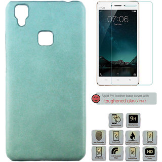100 Microns Protective Leather Mobile Cover for VIVO V3 with Tuffen glass in Teal Blue colour