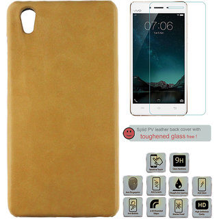 100 Microns Protective Leather Mobile Cover for VIVO Y51L with Tuffen glass in Mustard colour
