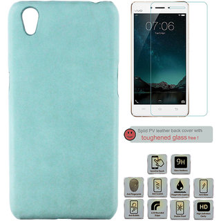 100 Microns Protective Leather Mobile Cover for VIVO Y51L with Tuffen glass in Teal Blue colour