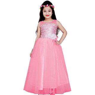 Aarika Girls Self Design Net Gown with Hairband