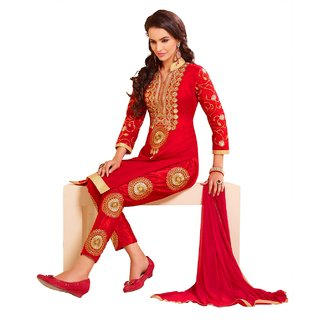 DnVeens Women Red Chanderi Cotton Embroidered Unstiched Party Wear Salwar Suit Dress Material
