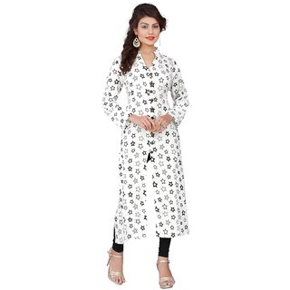 Thankar White Printed Rayon Stitched Kurti