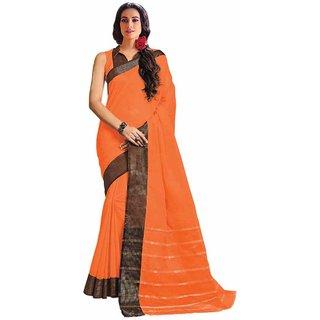 Swaron Orange Cotton Embroidered Saree With Blouse