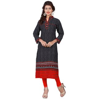 Thankar Red Printed Rayon Stitched Kurti