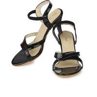 Do Bhai Women's Black Round Toe Heels