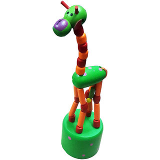 ShopMeFast Swing Dancing Standing Giraffe Wooden Toys For Kids (Multicolour)