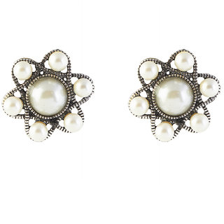 The99Jewel by JewelMaze Pearl Black Oxidised Floral Stud Earrings -FAG0002