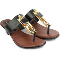 Do Bhai Women's Black Round Toe Heels - 101412918