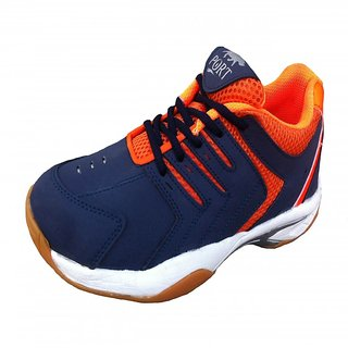 Port Mens Quantum Pu BadmintonShoes (Blue Orange)