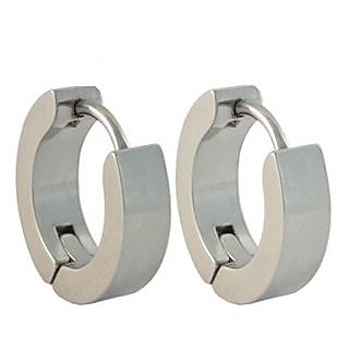 Men Style Best Quality Classic Plain Silver Round Hoop Earring For Men And Boy CODE Sk-8023