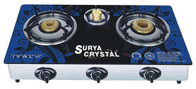 SURYA SHAKTI/CRYSTAL 3 BURNER MULTICOLOR GLASS TOP GAS TOP