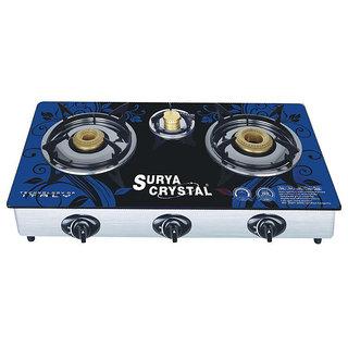 SURYA SHAKTI/CRYSTAL 3 BURNER MULTICOLOR GLASS TOP GAS TOP