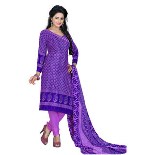 Chigy Whigy Purple Printed Crepe Un-Stitched Salwar Suit With Dupatta