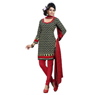 Chigy Whigy Red Printed Crepe Un-Stitched Salwar Suit With Dupatta