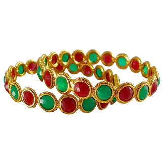 Rejewel 18k Gold Plated Antique Bangles For Women