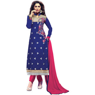 Chigy Whigy Pink Printed Chanderi Un-Stitched Salwar Suit With Dupatta