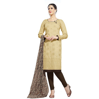 Chigy Whigy Beige Printed Glaze Cotton Un-Stitched Salwar Suit With Dupatta