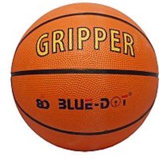 Blue Dot Gripper Basketball - Size 5, Diameter 21 Cm (Pack Of 1, Orange)