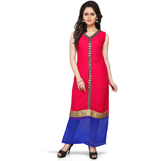 AMRIS Pink Embroidered Viscose Kurti