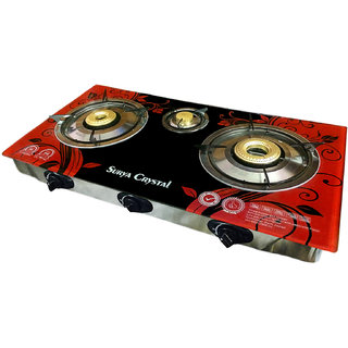 Surya Crystal 3 Burners Automatic Glass Top Gas Cooktop