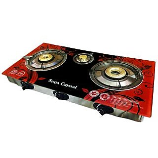 Surya 3 burner Automatic glass top Gas Cooktop